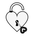 open heart shape safety lock with key valentines vector image vector image
