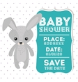 rabbit animal baby shower card icon vector image vector image