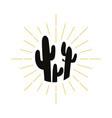 retro cactus silhouette logo vector image