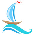 sailing ship and blue wave vector image vector image