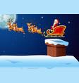 santa rides reindeer sleigh against a full moon vector image