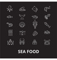 sea food restaurant editable line icons set vector image