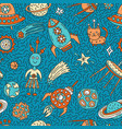 seamless pattern with funny cartoon space elements vector image