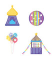 set circus big top with ball and toys store vector image