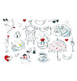 set cute icons for valentine s day isolated on vector image vector image