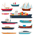 set different ships and boats vector image vector image
