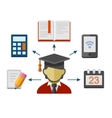 set flat style concept icons for education vector image