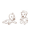 set with cute little babies vector image vector image