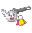 shopping character pizza cutter with handle vector image
