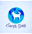 Silhouette of a Dog over planet Earth Earth Day vector image vector image