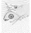 Surreal hand drawing whale and fish vector image vector image