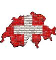 Switzerland map on a brick wall vector image