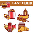 tasty fast food collection with fat dishes vector image vector image