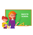 teacher and student near the blackboard pointing vector image