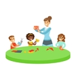 Three Children In Art Class Crafting Applique vector image vector image
