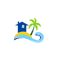 travel house beach tropic palm tree sunset logo vector image vector image