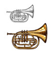 trumpet or horn jazz music instrument sketch vector image