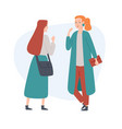 two women friends talking to each other vector image vector image