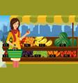 woman shopping in an outdoor farmers market vector image vector image