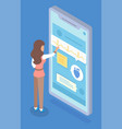 woman stands near huge smartphone screen and chats vector image vector image