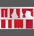 red curtains set theater curtain vector image