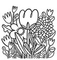 abstract black and white doodle flowers vector image