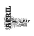april fool s trick text word cloud concept vector image
