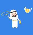 arab businessman using lasso noose catching vector image vector image