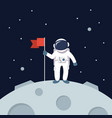 astronaut landing on moon holding flag vector image vector image