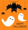 bat hanging spider dash line web flying ghost vector image vector image