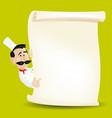 chef menu holding a parchment menu vector image