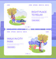 city park character right place to relax and man vector image vector image