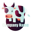 cow with purple marks in front purple circle vector image