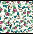 ditsy floral repeat pattern design in green vector image