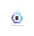e blue hexagon letter logo with triangles vector image