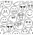 faces seamless pattern emotions doodle vector image