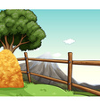 Farm scene with haystack by the fence vector image