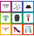 flat icon garment set of stylish apparel foot vector image vector image