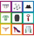flat icon garment set of stylish apparel foot
