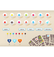 GPS Navigation Markers And Website Elements vector image vector image