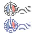 grunge stamp with eiffel tower - landmark paris vector image vector image