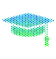 halftone blue-green graduation cap icon vector image vector image