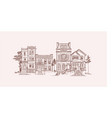 house old fashioned brown lines vector image