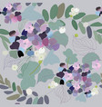 hydrangea flowers decorative berries and leaves vector image vector image