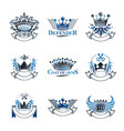 imperial crowns emblems set heraldic coat of arms vector image vector image