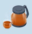 isometric tea ceremony icon fresh brewed black vector image