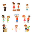 kind and fair little children set kids protecting vector image
