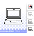 laptop simple black line icon vector image