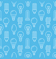 light bulbs blue seamless pattern with flat line vector image vector image