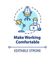make working comfortable concept icon workplace vector image vector image